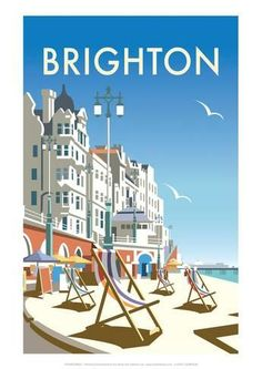 """my-world-of-colour: """" England - Brighton Vintage travel poster Saved from davethompsonillus. """" - my-world-of-colour: """" England – Brighton Vintage travel poster Saved from davethompsonillus… """" - Old Poster, Poster Ads, Retro Advertising, Vintage Advertisements, Morrison Hotel, Harry Potter Poster, Poster Print, Railway Posters, Travel Illustration"""
