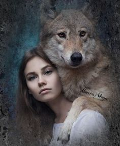 I am starting to paint women and their spirit animals. Beautiful Creatures, Animals Beautiful, Cute Animals, Wolves And Women, Native American Girls, Fantasy Wolf, Howl At The Moon, Wolf Love, Wolf Pictures