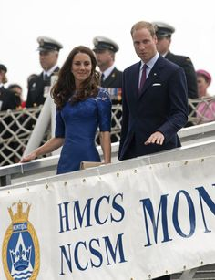 Kate & William Erdem Moralioghi Blue Lace Dress Quebec 3 July 2011