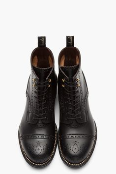 AUTHENTIC SHOE Black leather brogued Mendell Boots