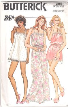 Butterick 3195  1980s Misses  Nightgown Baby Doll Pajamas and Teddy with Shoulder Ties womens vintage lingerie sewing pattern by mbchills
