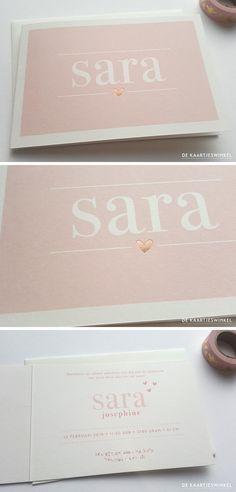 Print geboortekaartje blush en rosé goudfolie hartje Sara.  #dekaartjeswinkel #blush #pink #geboortekaartje #goudfolie #rosegold #rosegoldfoil #heart #babygirl #baby #girl #meisje #babymeisje #roze #geboortekaartjes #birthannouncement #birth #geboorte #uniekkaartje #uniek #gold #goud #hartje #handmade #handprinted