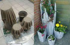 Unikátne kvetináče do záhrady z betónu a látky Concrete Crafts, Concrete Projects, Concrete Planters, Garden Crafts, Garden Projects, Diy Projects, Cement Flower Pots, Vase Deco, Cement Art