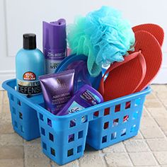 """Shower Caddy Gift - College is full of excitement and new challenges—so arm a new graduate with everything they'll need to succeed! Grab a pair of """"shower shoes""""  and a shower caddy—detailed list on website...                                             College is full of excitement and new challenges — living in a small dorm room ..."""
