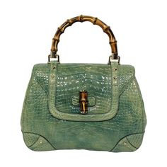 Gucci Mint Green Alligator Handbag with Bamboo Hardware  bf800b1af894b