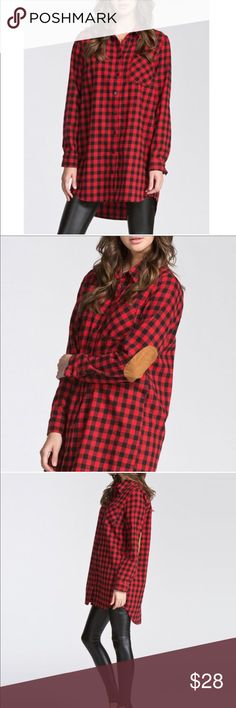 Plaid Button Down Flannel Tunic Shirt Dress Tunic style shirt dress.  Black buttons going down the front.  Suede elbow patches.  Front chest pocket on left side.  Black and Red Flannel.  80% Cotton, 20% polyester.  Curved hemline.  Warm, soft and comfy.  Excellent condition.  Like New!  Perfect with leggings. Tops