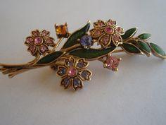 Gold and Rhinestone Flower Brooch by SocialmarysTreasures