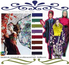 DESIGN OPTIONS Fall Winter 2014-15, universal women's color trend report, full Spellbound #color board