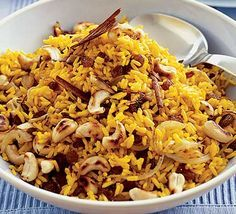 Spicy Indian rice Sara Buenfeld's delicious spicy rice is perfect served with your favourite curry Bbc Good Food Recipes, Spicy Recipes, Indian Food Recipes, Asian Recipes, Vegetarian Recipes, Cooking Recipes, Healthy Recipes, Ethnic Recipes, Recipes Dinner