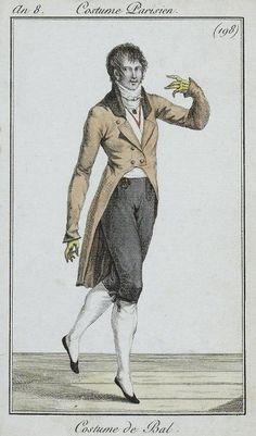 1800  Gentleman's Ball Ensemble.  Long taupe tail coat, knee breeches, white stockings, evening slippers.    via  Costume Parisienne.