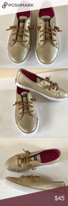 "NEW SPERRY SEACOAST GOLD LEATHER SNEAKER NEW gold leather top-sider sneaker from SPERRY. Memory foam insole, slip on, with the decorative laces. Size 6 with 1/2"" platform. Sperry Top-Sider Shoes Sneakers"