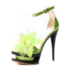 Lime Green and Black stilettos