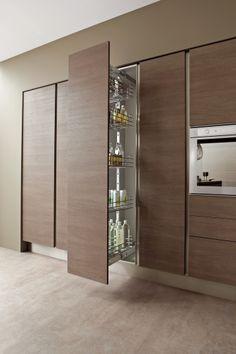 Canapa textured and Smoky Oak laminate doors. Porfido laminated worktop with unicolor edge. # & Canapa textured and Smoky Oak laminate doors. Porfido laminated ...