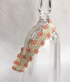Handmade Needle Beaded Peyote Stitched Cuff Bracelet in