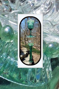Garden and Yard TOTEM art with recycled glassware by GlassBlooms