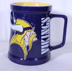 a8ce52205e1d4c Minnesota Vikings 3D Coffee Beer Mug Cup MN Football Raised Appx 5.25 x  3.75