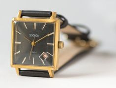 Black mens watch Sekonda square gold plated dude by SovietEra