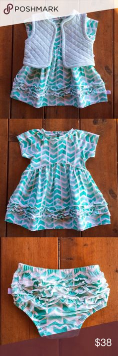 """Ocean Breeze Dress Precious little short sleeve turquoise dress with ruffles on the bottom and ruffles on the matching diaper cover. Has a coordinating vest in a lighter turquoise.  Vest is 75% Cotton & 25% Polyester. Dress and diaper cover is 95% Cotton & 5% Spandex.  Machine Wash Cold  Measurements  12 months    18-23lbs    29""""-31""""(74-79cm)  24 months    26-29lbs    33""""-35""""(84-89cm) Rosie Pope Dresses Casual"""
