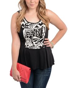 Black & White Abstract Peplum Top - Plus | Daily deals for moms, babies and kids