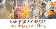 These easy Ham, Egg and Cheese Breakfast Muffins taste like your favorite ham & cheese biscuits. They are perfect for busy mornings when you don't have time to cook but want to serve a hot, homemade meal. Easy Breakfast Muffins, Breakfast Dishes, Breakfast Recipes, Breakfast Ideas, Cheese Biscuits, Cheese Muffins, Butter Roll Recipe, Bacon In The Oven, Ham And Cheese