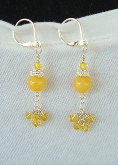 Boho chic Earrings Lemon Yellow Yellow Jade by BohoStyleMe