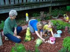 A garden fairy path any child can do! A whimsical fairy path kids can create… Sue Jordan is a Grandma Extraordinaire! All this year, as her garden woke up in early Spring to when the grandkids get out of school, she has been working with them on a wondrous fairy garden path.
