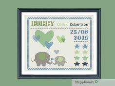 cross stitch baby birth sampler, birth announcement, elephants, baby boy, DIY…