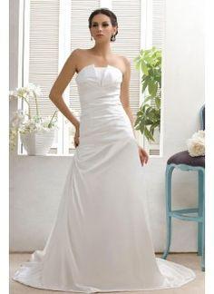 Charming A-line Strapless Taffeta Sweep Train Wedding Dress