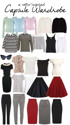 retro-inspired capsule wardrobe : 24 pieces