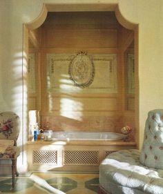 Tub but I have window.  I like the mirror on each side! LOVE the lattice like work around bottom