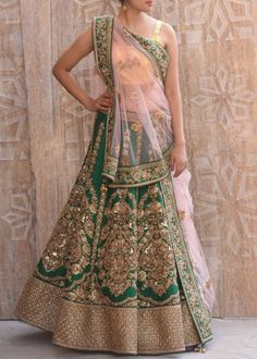 Bottle Green Raw Silk Antique Zardozi Lehenga