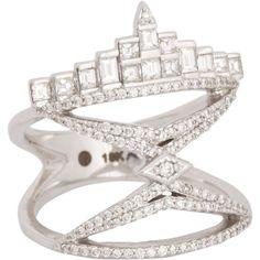 Deborah Pagani White Diamond, Grey Diamond & White Gold New York City Ring at Barneys.com