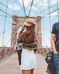 Brooklyn Bridge, foi um prazer te conhecer. Estreando minha boina nova, que comprei em um brechó em San Francisco. Instagram: @viihrocha #lookdodia