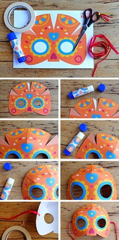 From: Fee printable masks – step by step calavera mask, craft tutorial for Day of the Dead, Dia de los Muertos Calavera mask , sugar skull Free template here: Halloween Crafts, Holiday Crafts, Fun Crafts, Crafts For Kids, Arts And Crafts, Paper Crafts, Day Of Dead, Day Of The Dead Mask, Day Of The Dead Party