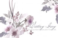 Wintery Grey - Watercolor Floral Set - Illustrations