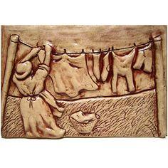 Laundry Day Art Tile Ceramic Tile. Ceramic Tile Art, Clay Tiles, Ceramic Pottery, Mosaic Tiles, Pottery Art, Vintage Tile, Pewter Metal, Pottery Sculpture, Handmade Tiles