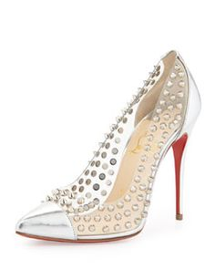 X253C Christian Louboutin Spike Studded Red Sole Pump