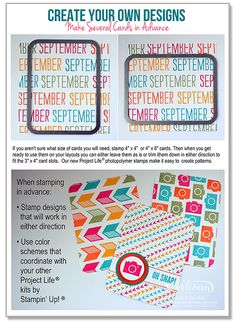 Tips on die cutting and stamping to create Project Life cards with Stampin' Up!  Connie Collins