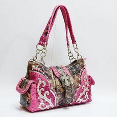 Pink Camouflage Camo Western Buckle With Cross Fashion Handbag Purse