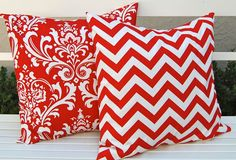 Accent Pillows, Chevron and Damask Cushion, Valentine Pillow Covers, Decorative Pillows, Red on White 20 Inches.