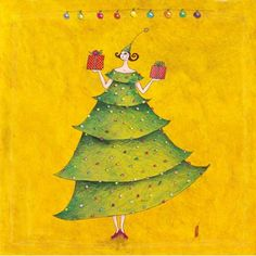 """Gaëlle Boissonnard square card (14 cm) """"La fille sapin"""" Christmas Fun, Vintage Christmas, Christmas Cards, French Christmas, Holiday, Art Carte, Doodle Sketch, Art Moderne, Illustrations And Posters"""