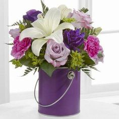 Send bouquet flowers and arrangements from FTD. We provide quick delivery of bouquets, gift baskets, and more. Give a flower bouquet to delight any occasion. New Baby Flowers, Easter Flowers, Flowers For You, Purple Flowers, Spring Flowers, Wedding Flowers, Purple Vase, Flowers Vase, Order Flowers
