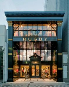 Rugby Ralph Lauren store by Michael Neumann Architecture, Nagoya store design Showroom Design, Shop Interior Design, Retail Design, Store Design, Entrance Design, Facade Design, Exterior Design, Shop Front Design, House Design