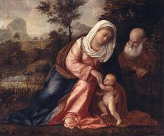 Cariani (Giovanni Busi detto) - Sacra Famiglia in un paesaggio - 1530-1540 -  Accademia Carrara di Bergamo Pinacoteca