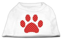 Mirage cat Products Red Swiss Dot Paw Screen Print Shirt White XXXL(20) -- To view further, visit now : Cat Apparel