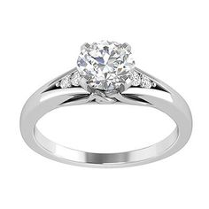Engagement Ring with Side Stone 0.06 CT. T.W