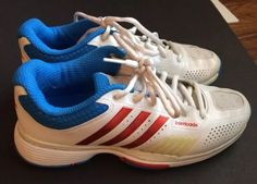 Adidas Adipower Barricade Womens Tennis Trainers Size 6.5 V22332 Red White Blue #adidas