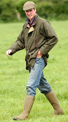 Prince William at Home Farm Gloucestershire MAY 2004 Wearing Barbour Lancaster boots.