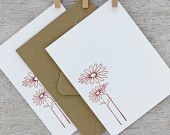 Leaf Letterpress Note Card Set Abstract Leaves by sweetharvey