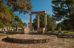 Ancient Olympia, a sanctuary of ancient Greece in Elis, is known for having been the site of the Olympic Games in classical times, the most famous games in history.